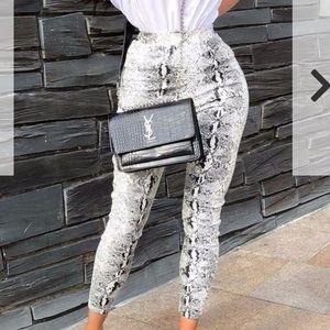 Pants - White snake skin FAUX leather leggings